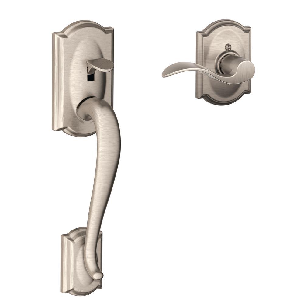 Schlage Camelot Satin Nickel Entry Door Handle With Accent
