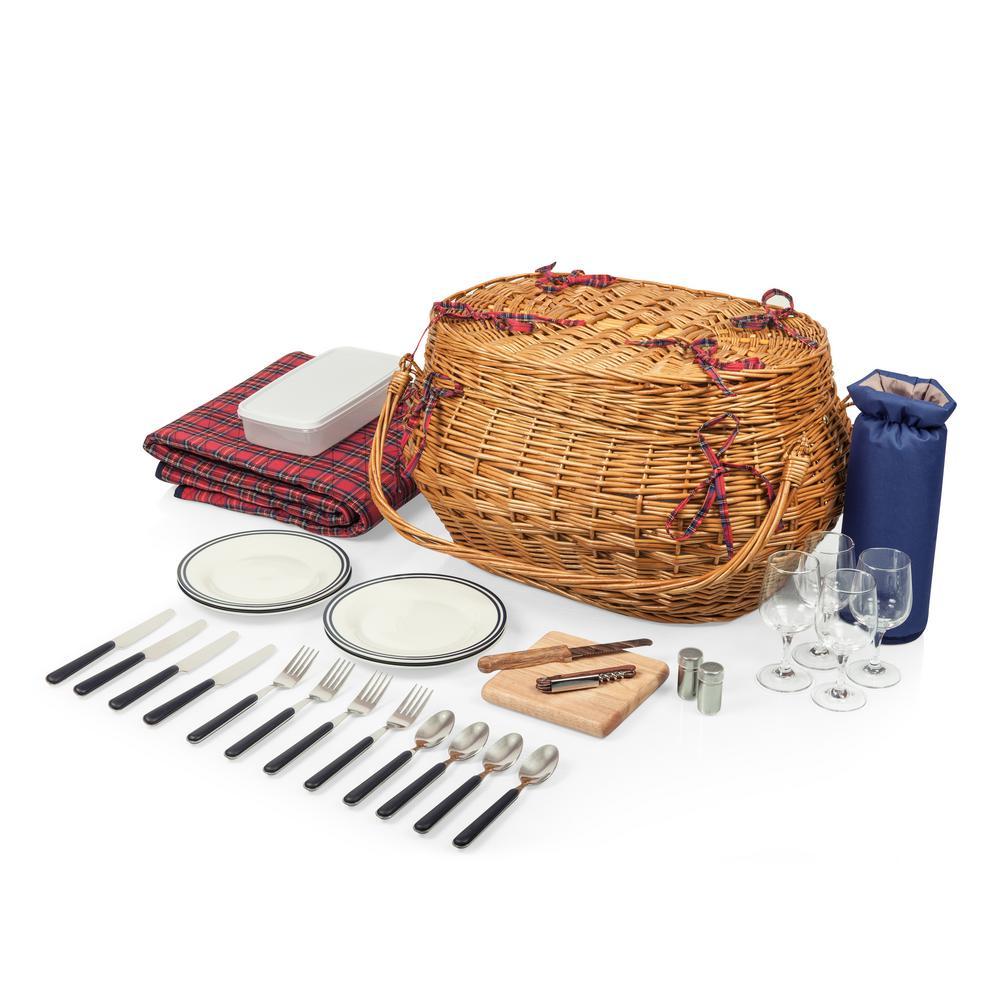 Highlander Natural Red 10 qt. Picnic Basket