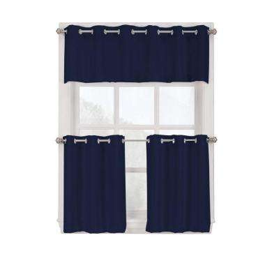 Semi-Opaque Navy Montego Grommet Kitchen Curtain Tiers, 56 in. W x 24 in. L