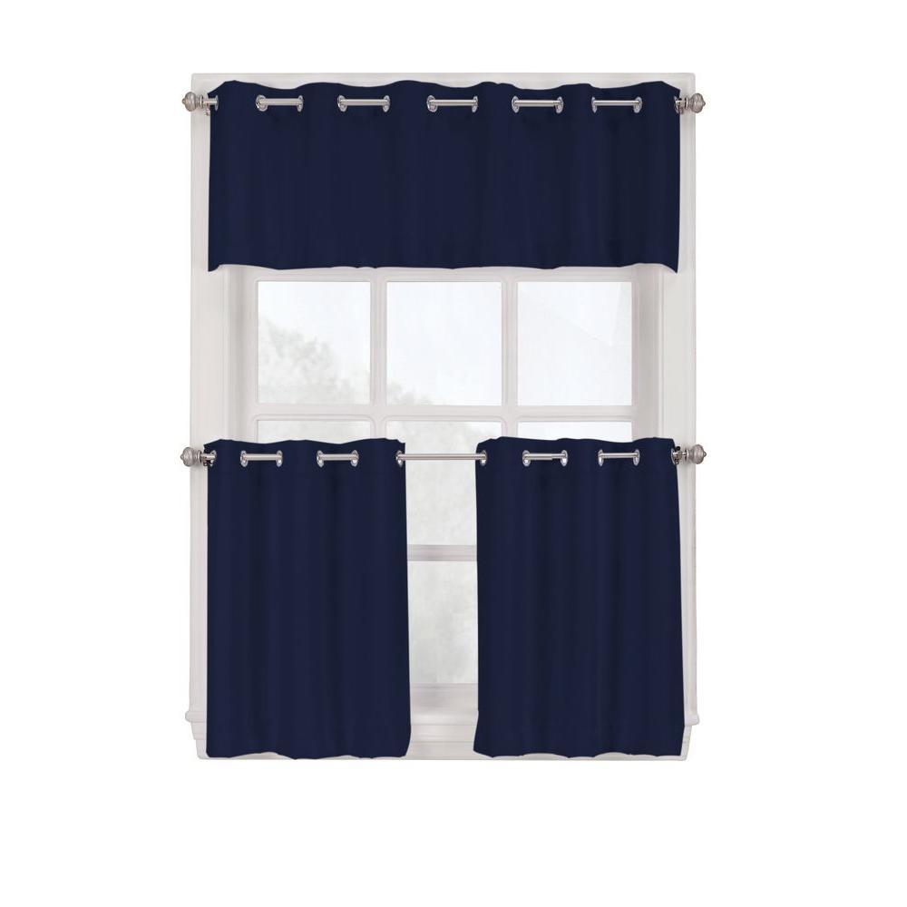 LICHTENBERG Semi-Opaque Navy Montego Grommet Kitchen Curtain Tiers, 56 in. W x 24 in. L