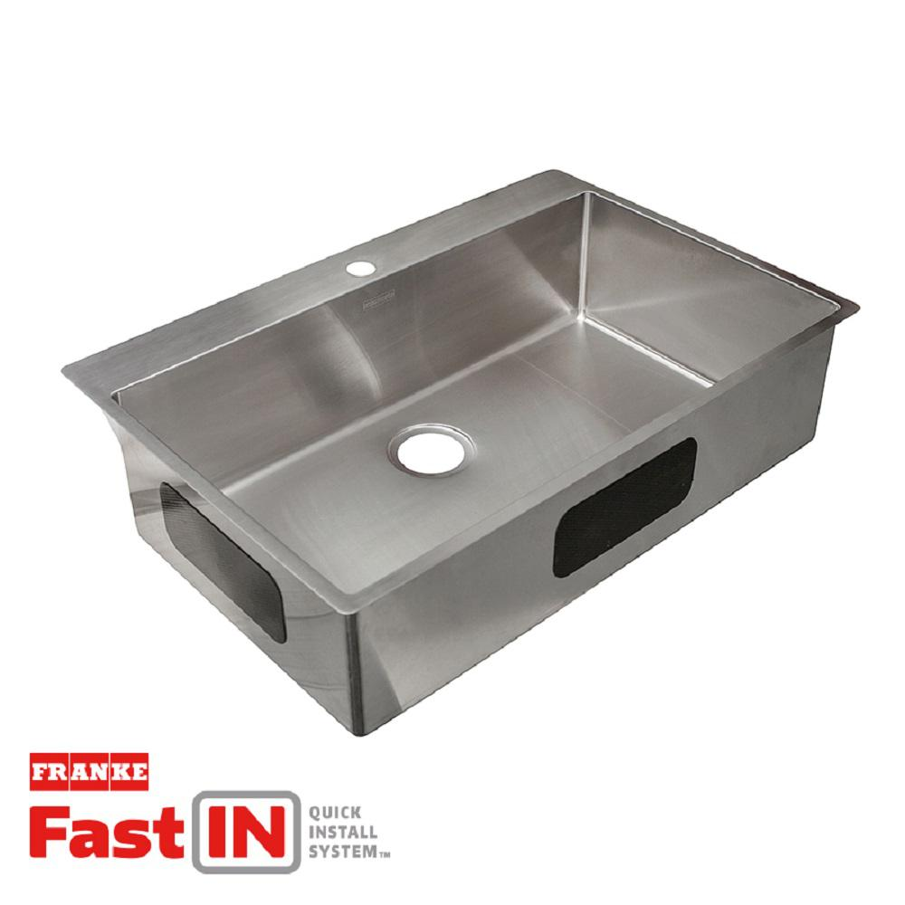 Franke Vector Dual Mount Stainless Steel 33.5-in. 2-Hole Single Bowl ...