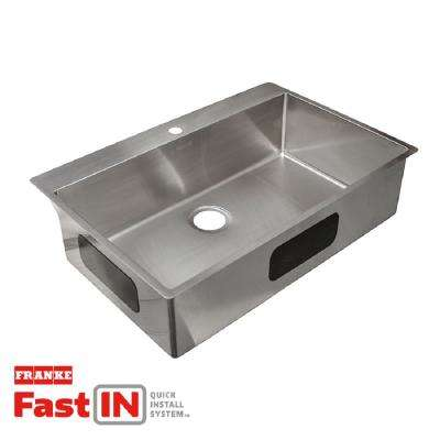 Vector Dual Mount Stainless Steel 33.5-in. 2-Hole Single Bowl Kitchen Sink in Satin Stainless Steel