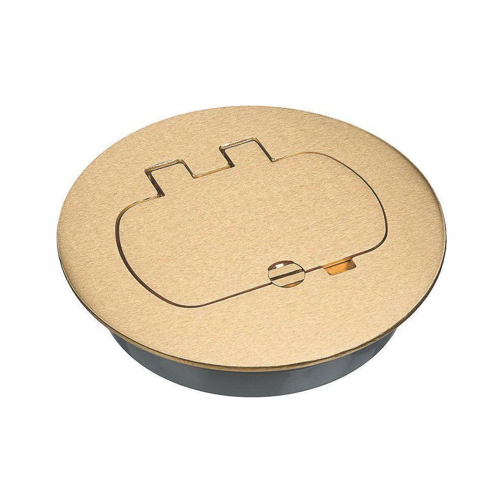 Round Brass Floor Box Cover Kit - Duplex/GFCI (Case of 3)