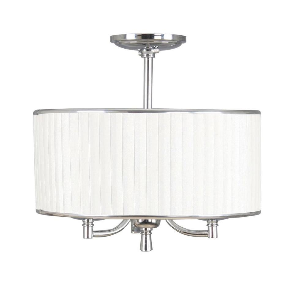 Home Decorators Collection Anya 15 in. 3-Light Chrome Semi-Flush Mount with Pleated Cream Fabric Shade