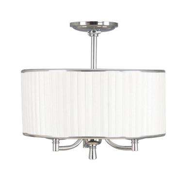 Anya 15 in. 3-Light Chrome Semi-Flush Mount with Pleated Cream Fabric Shade