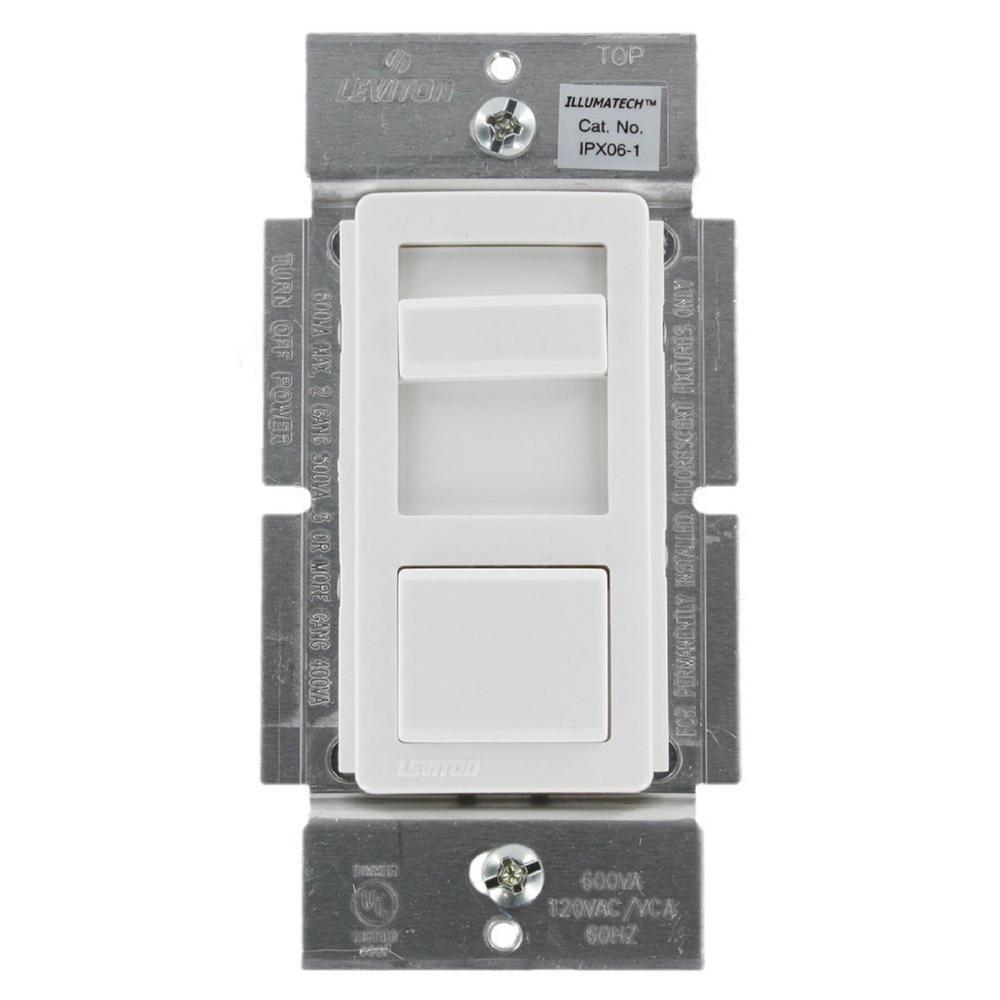 IllumaTech 600VA Preset Electronic Mark 10 Powerline Fluorescent Slide Dimmer, White/Ivory/Light Almond