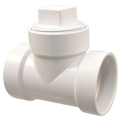 2 in. PVC DWV Hub x Hub x FPT Cleanout with Plug Tee