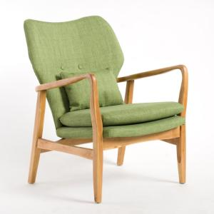 Haddie Button Back Green Fabric Club Chair with Wooden Frame