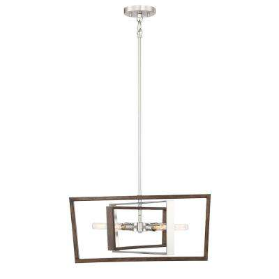 6-Light Brushed Nickel and Corona Bronze Pendant