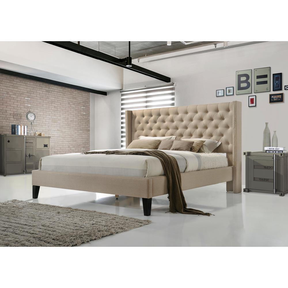 Pacifica Beige Queen Upholstered Bed