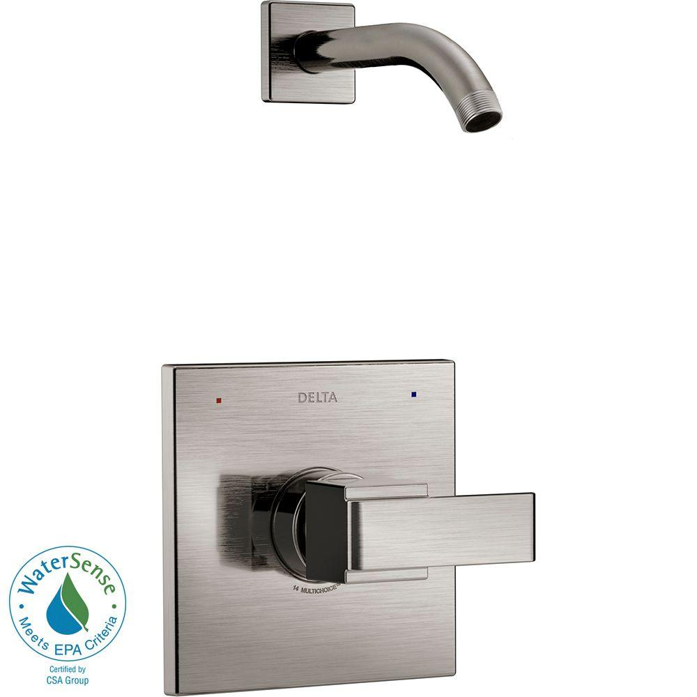 Ara 1-Handle Shower Faucet Trim Kit in Stainless with Less Showerhead