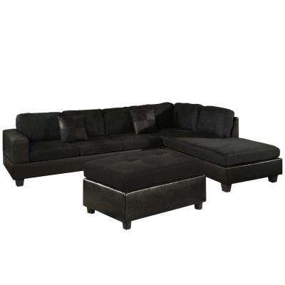 Dallin Black Microfiber Sectional