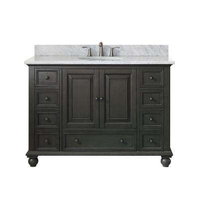 Thompson 49 in. W x 22 in. D x 35 in. H Vanity in Charcoal Glaze with Marble Vanity Top in Carrera White with Basin