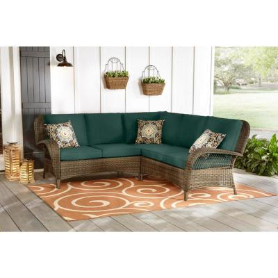 Beacon Park 3-Piece Brown Wicker Outdoor Patio Sectional Sofa with CushionGuard Charleston Blue-Green Cushions