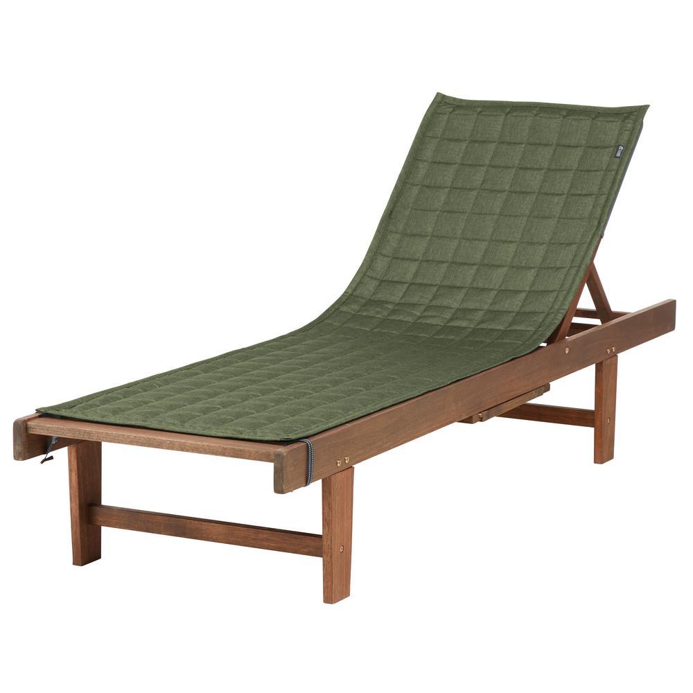 Montlake FadeSafe 80 in. L x 26 in. W Heather Fern Patio Chaise Lounge Slipcover