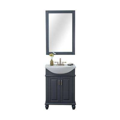 Lancaster 24 in. W x 18.25 in. D x 34.75 in. H Bath Vanity in Gray with Porcelain Vanity Top in White with White Basin