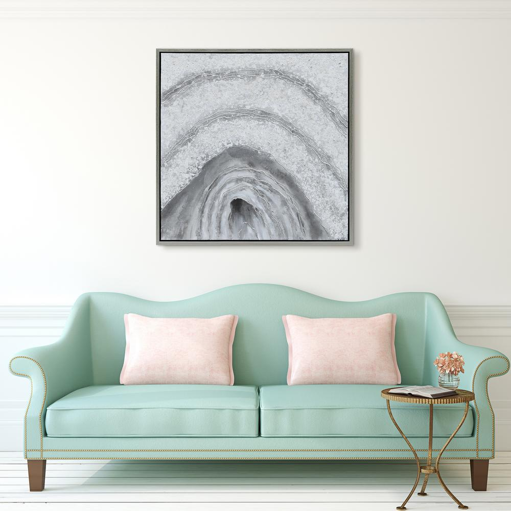 Gray Cave Abstract Textured Metallic Hand Painted by Martin Edwards Framed Canvas Wall Art
