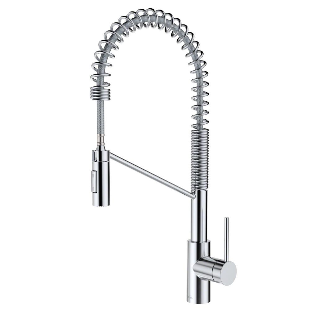 kraus kitchen faucets reviews kraus oletto single handle pull down sprayer kitchen faucet in chrome kpf 2631ch the home depot 1321