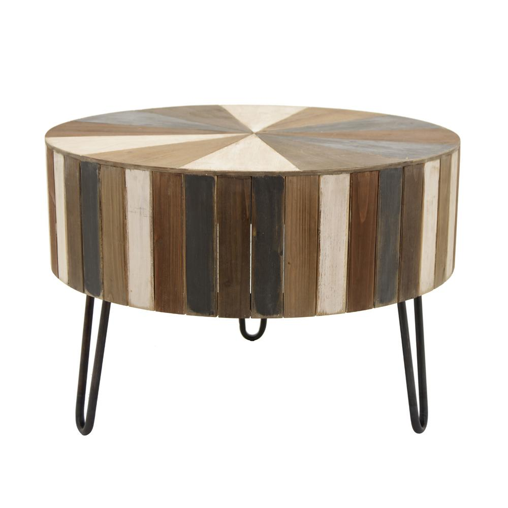 Three Hands 21 5 In Multi Colored Round Coffee Table 50123 The Home Depot