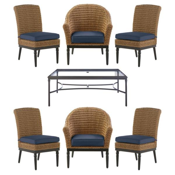 Camden 7-Piece Seagrass Light Brown Wicker Outdoor Patio Dining Set with CushionGuard Sky Blue Cushions