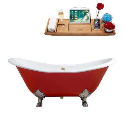 61 in. Cast Iron Clawfoot Non-Whirlpool Bathtub in Red