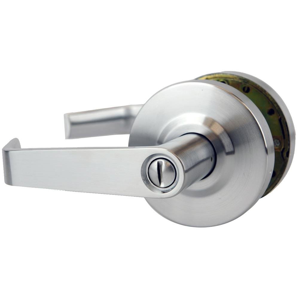 Nu Set Commercial Grade 2 Privacy Bed Bath Door Lever In Satin Chrome Kb26d 3 The Home Depot