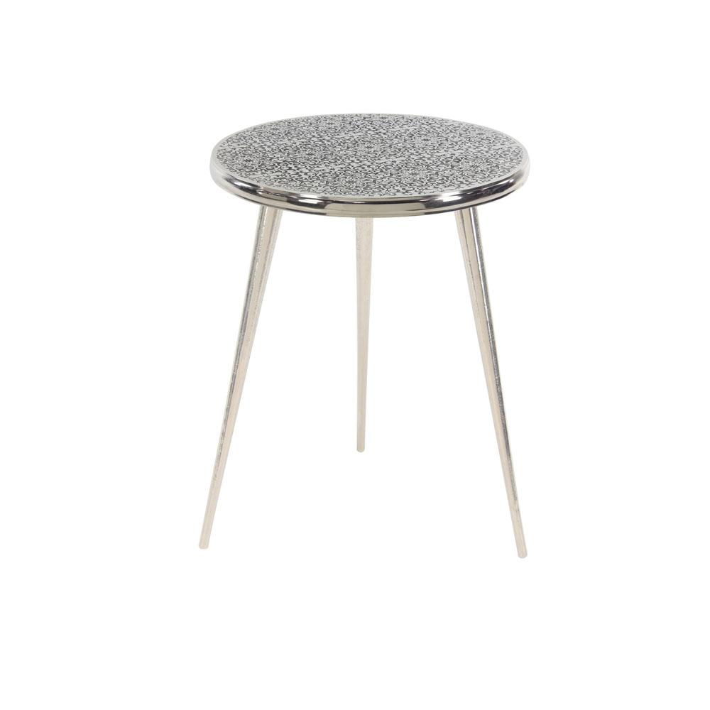Silver Round Flourished Accent Table