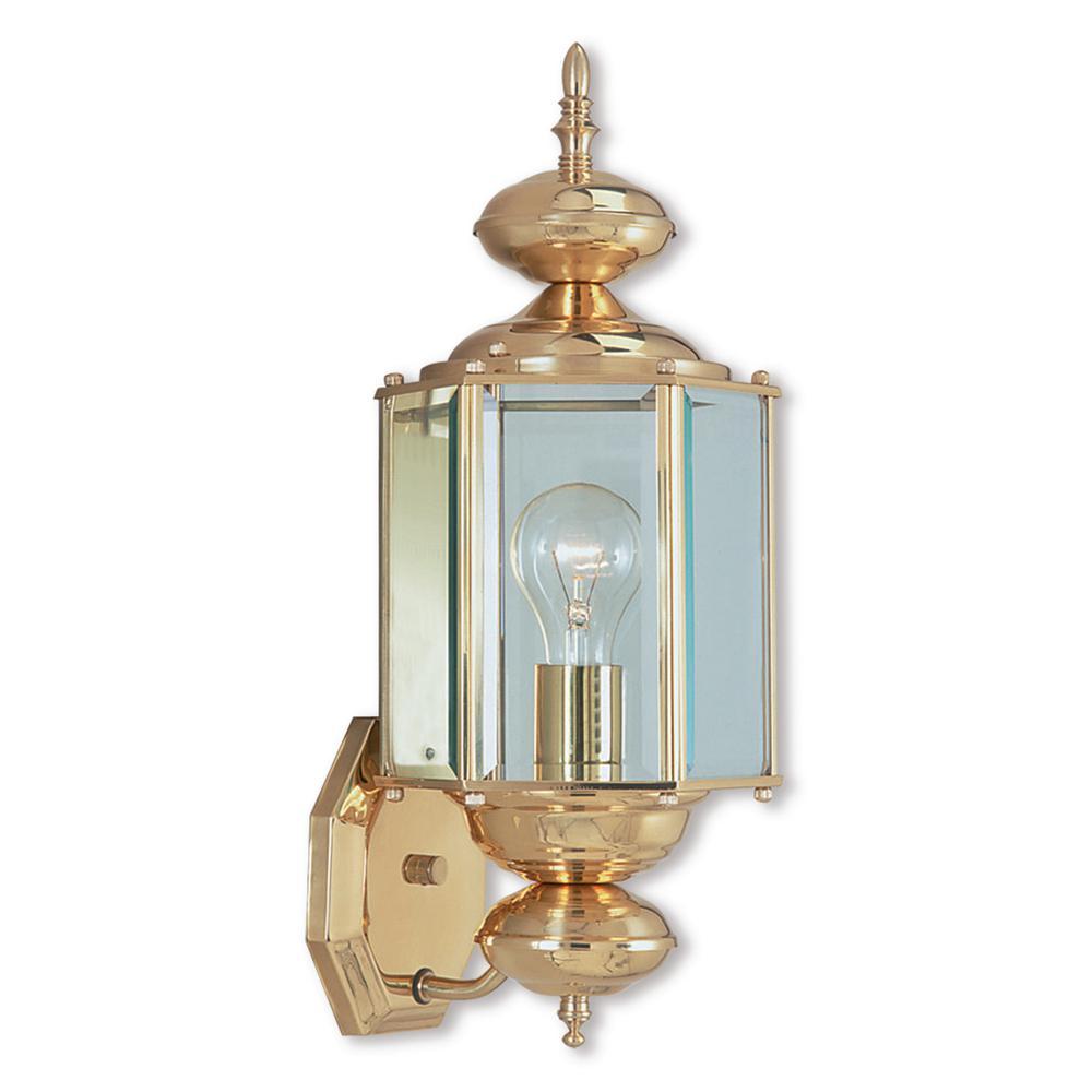 Livex Lighting Outdoor Basics 1-Light Polished Brass Outdoor Wall Lantern Sconce