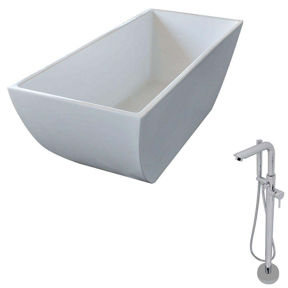 Rook 66.75 in. Acrylic Classic Freestanding Flatbottom Non-Whirlpool Bathtub in