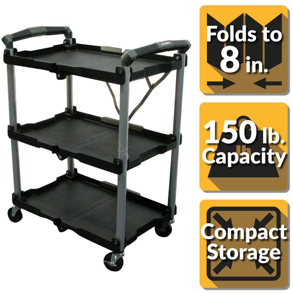 Olympia 3 Shelf Collapsible 4 Wheeled Multi Purpose