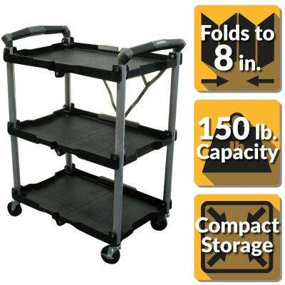 3-Shelf Collapsible 4-Wheeled Multi-Purpose Utility Cart in Black