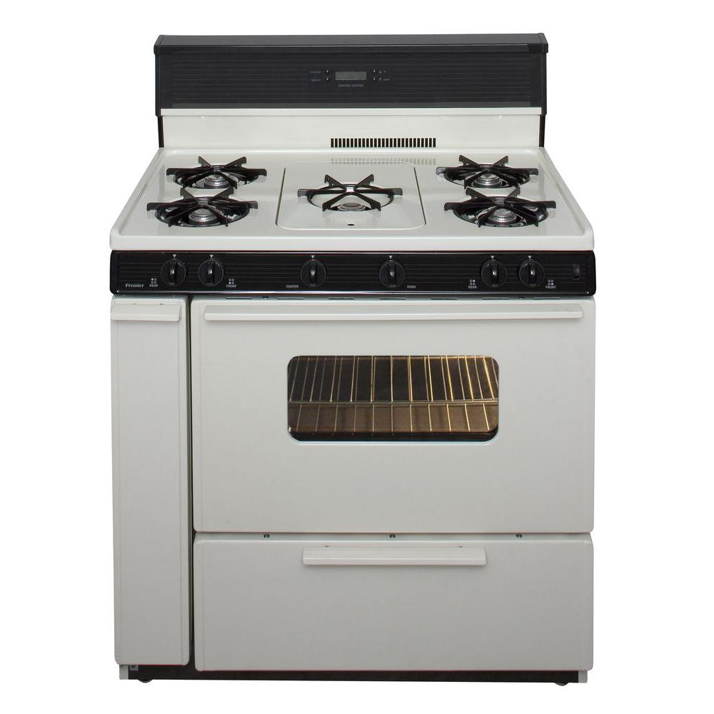 Premier 36 in. 3.91 cu. ft. Freestanding Gas Range with 5th Burner and Griddle Package in Biscuit