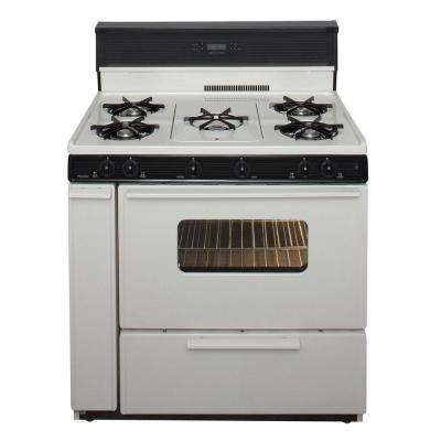 36 in. 3.91 cu. ft. Freestanding Gas Range with 5th Burner and Griddle Package in Biscuit
