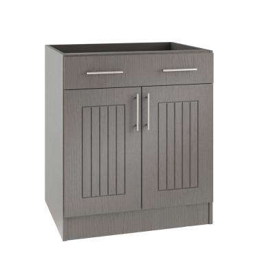 Assembled 36x34.5x24 in. Naples Open Back Outdoor Kitchen Base Cabinet with 2 Doors and 1 Drawer in Rustic Gray