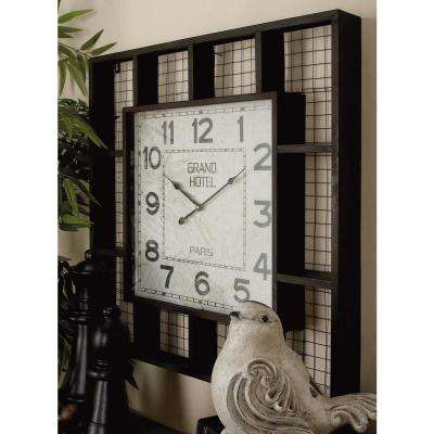 28 in. x 28 in. Farmhouse Squares and Mesh Square Wall Clock