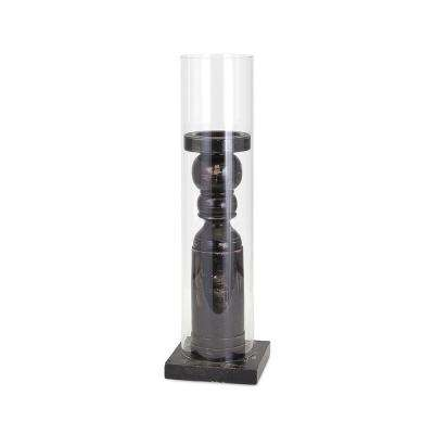 Elijah 21.75 in. Black Pine and Glass Candle Holder