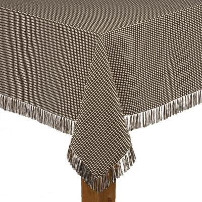 Homespun Fringed 70 in. Round Chocolate 100% Cotton Tablecloth