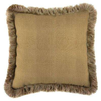 Sunbrella Linen Straw Square Outdoor Throw Pillow with Heather Beige Fringe