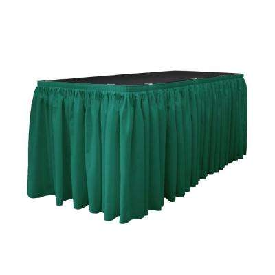 17 ft. x 29 in. Long Teal Polyester Poplin Table Skirt with 10 L-Clips
