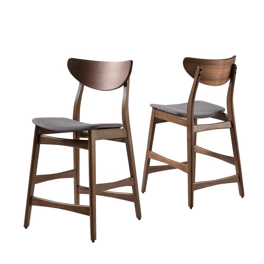 Gavin 36.4 in. Dark Grey and Walnut Counter Chair (Set of 2)