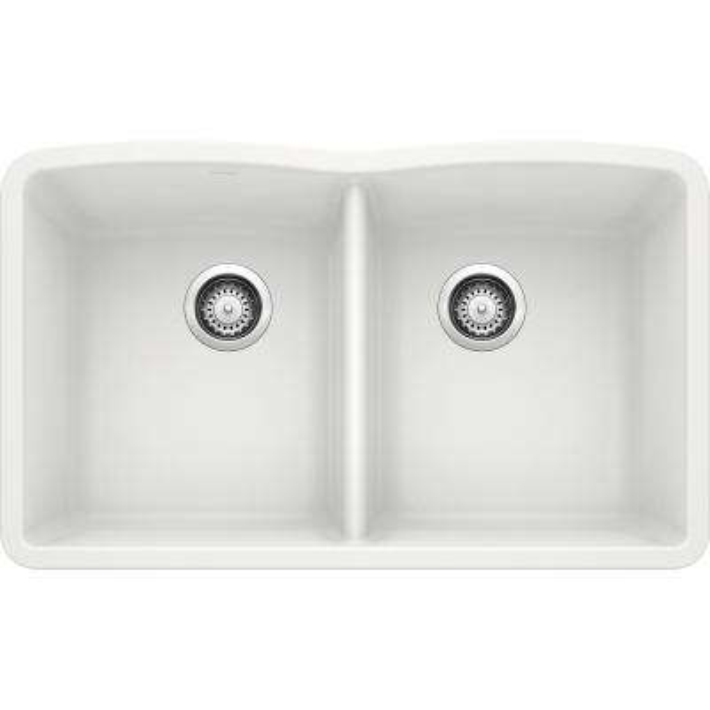 DIAMOND Undermount Granite Composite 32.06 in. 50/50 Double Bowl Kitchen Sink in White