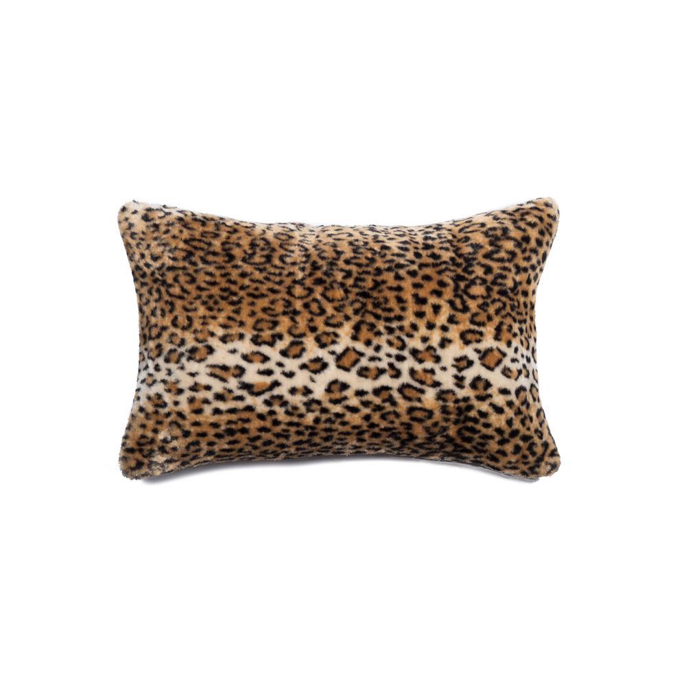 Belton Leopard 12 inch x 20 inch Faux Sheepskin Decorative Pillow by