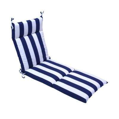 21.5 in. x 72 in. Navy Cabana Outdoor Chaise Lounge Cushion