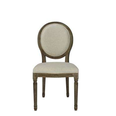 Louis Beige Wooden Round Back Dining Chair (Set of 2)
