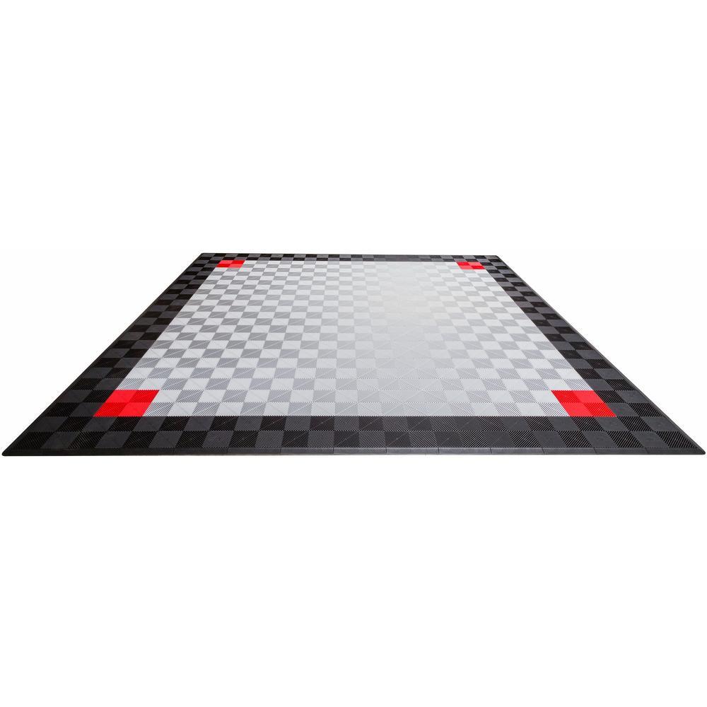 Swisstrax interlocking tile garage flooring the home depot black and silver double car pad ribtrax modular tile flooring dailygadgetfo Choice Image