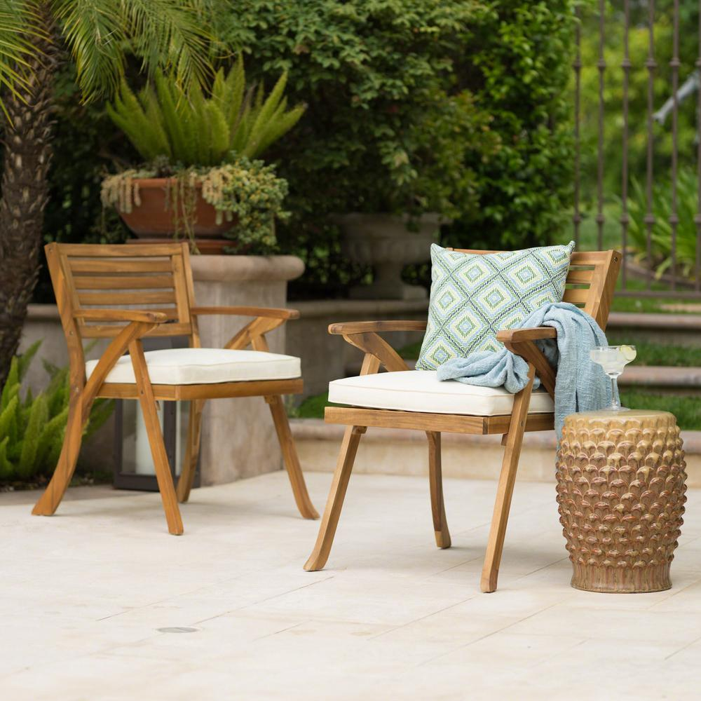 Noble House Hermosa Teak Removable Cushions Wood Outdoor Dining Chair With Cream Cushions 2 Pack