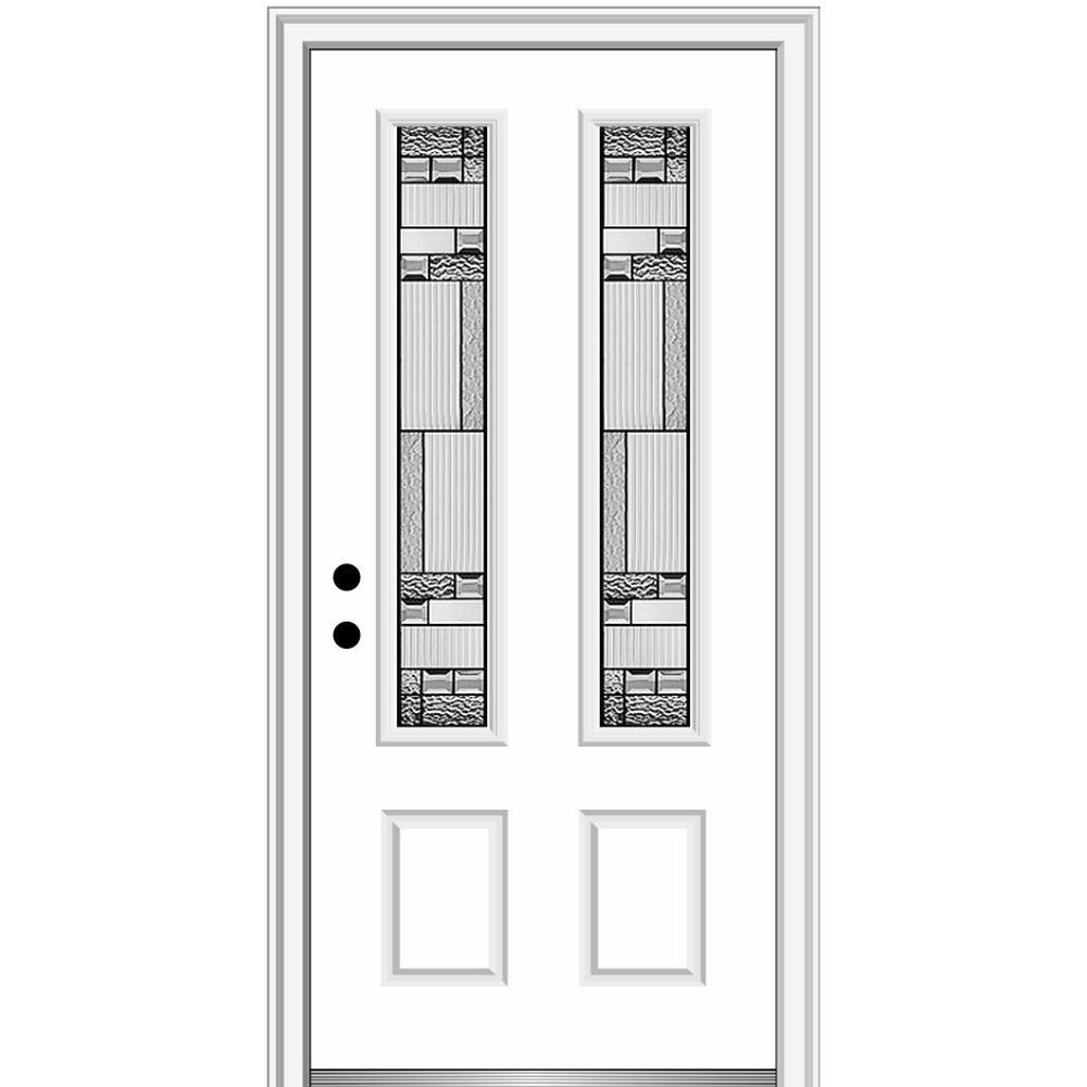 36 in. x 80 in. Metro Right-Hand Inswing Decorative 2 Lite Primed Fiberglass Prehung Front Door on 4-9/16 in. Frame