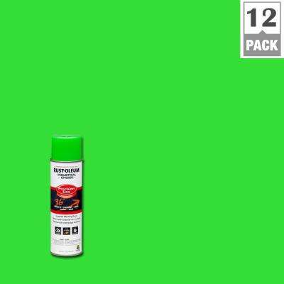 17 oz. M1600 System Precision Line Solvent-Based Fluorescent Green Inverted Marking Spray Paint (12-Pack)