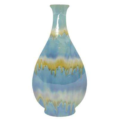 Decorative Blue and Green Ceramic Vase with Glossy