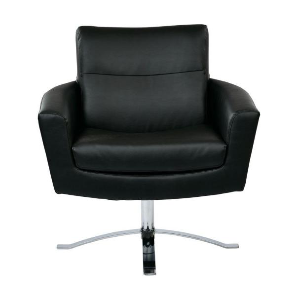 Office Star Products Nova Black Faux Leather Arm Chair NVA51-B18